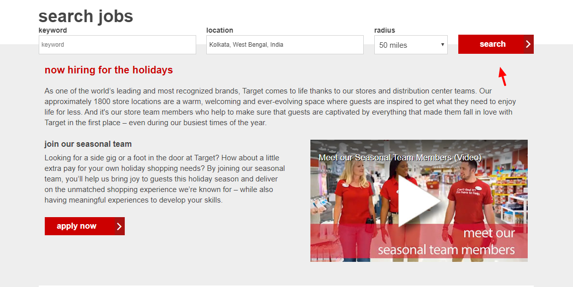 Target seasonal jobs Search