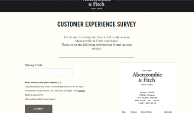 Abercrombie and Fitch Customer Survey