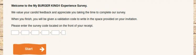 My BURGER KING Survey