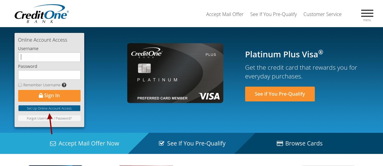 Credit One Bank Set Up Access