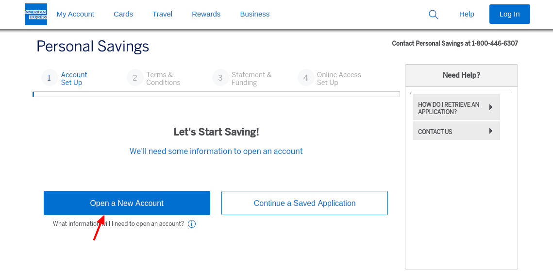 American Express National Bank New Account Open