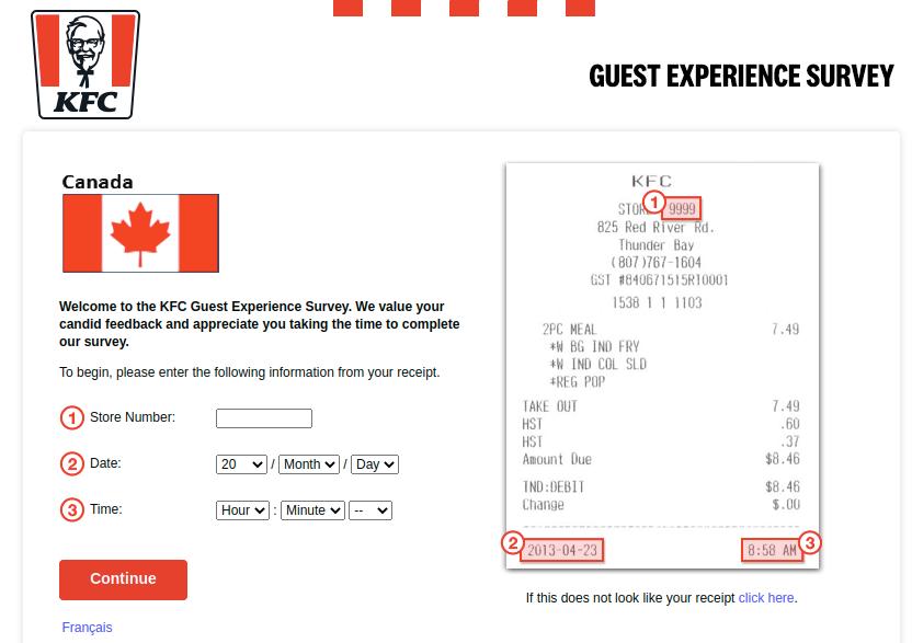 KFC Canada Guest Survey