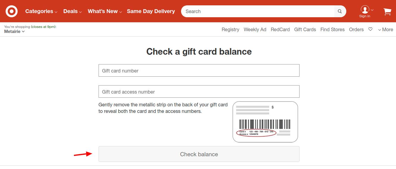 Target Gift Card Balance Check