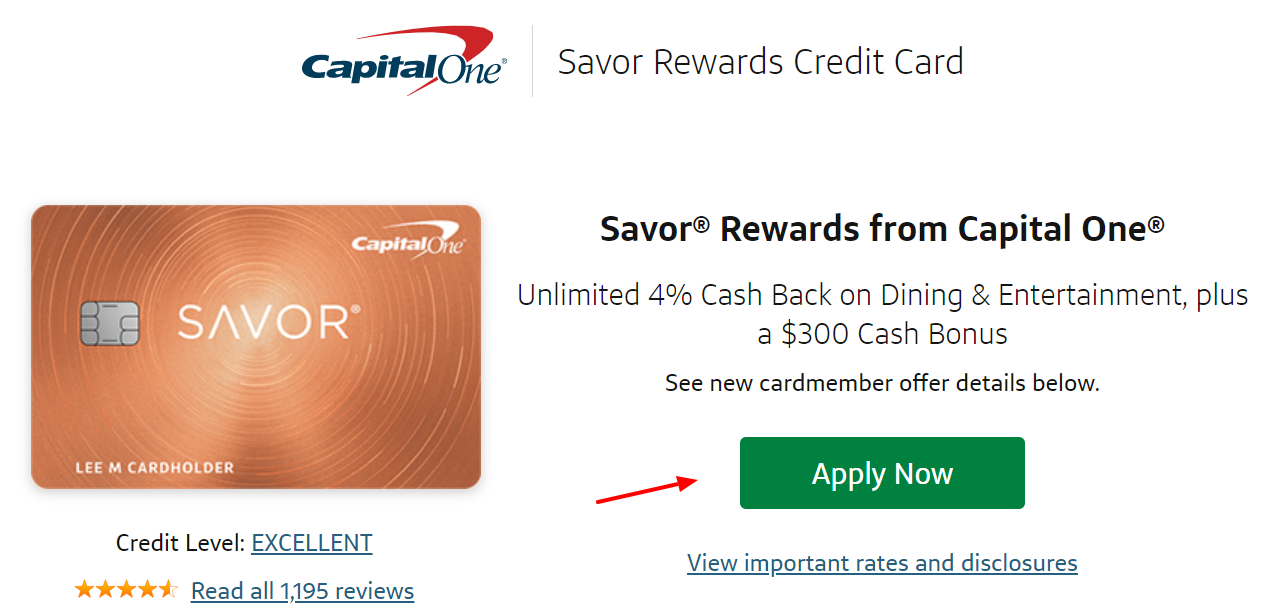 Capital One Savor Rewards Credit Card Apply