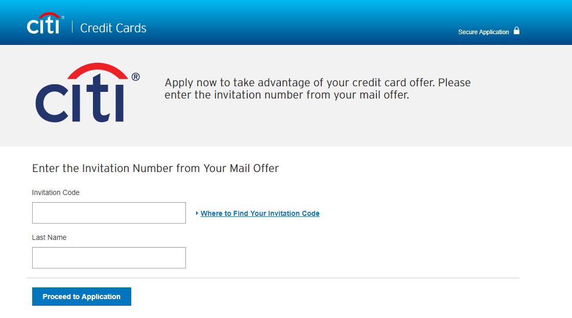 Citi Credit Card Invitation