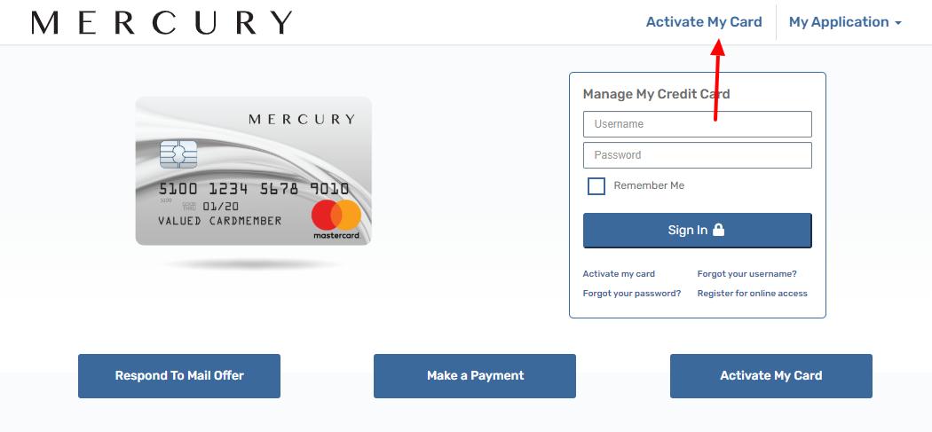 Mercury Mastercard Activate