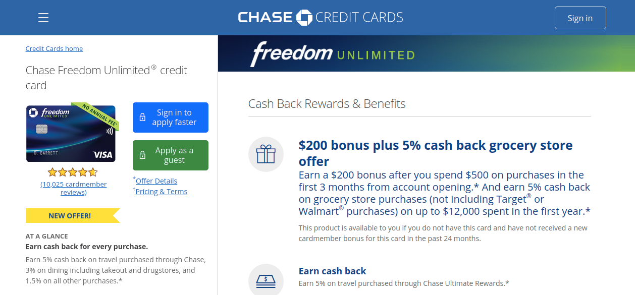 Chase Freedom Credit Card Apply