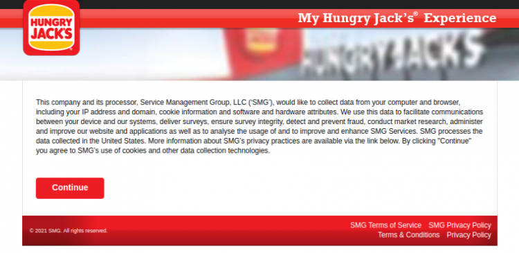 My HUNGRY JACK S Experience Survey