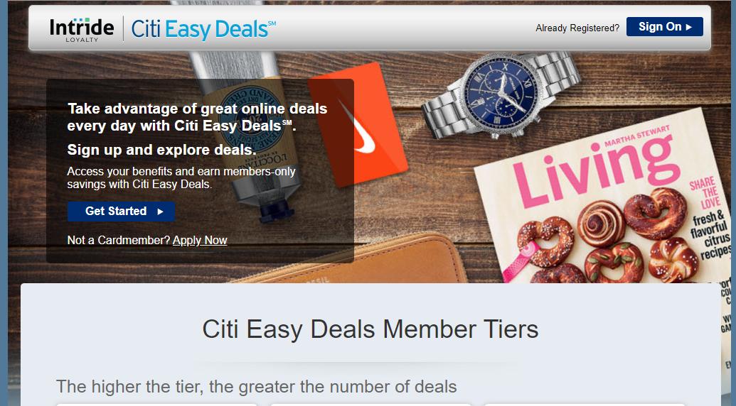 citi easy deals login